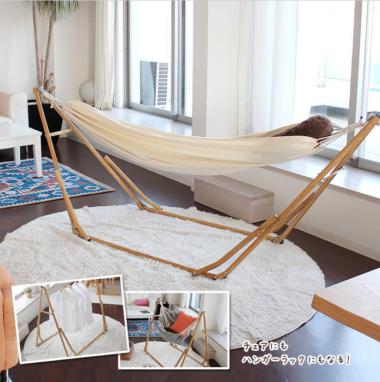 おしゃれな折り畳み式の木製室内物干し台4