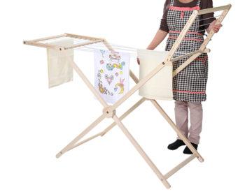 おしゃれな折り畳み式の木製室内物干し台8
