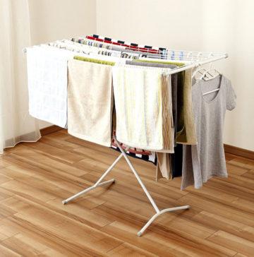 おしゃれなスチール室内洗濯物干し台7