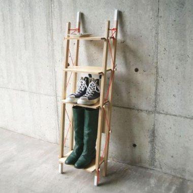おしゃれな北欧風の木製シューズラック4