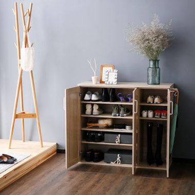 おしゃれな北欧風デザイン木製下駄箱・シューズボックス1