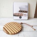 面の広さが変えられる 素朴な木製の鍋敷き オークトリベット