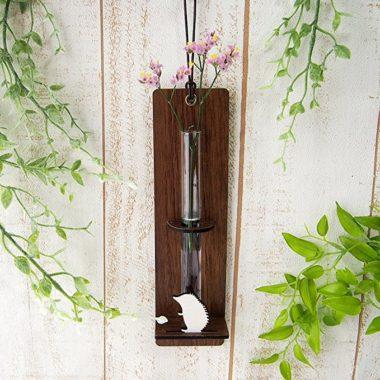 おしゃれな壁掛け木製一輪差し花瓶3