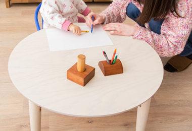 折りたたみ式の北欧風おしゃれな丸ローテーブル2