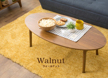 折りたたみ式の北欧風おしゃれな丸ローテーブル1