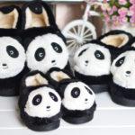 ファーフラットシューズ 靴 子供用 大人用 親子ペア パンダ 動物 キッズシューズ スリッパ フラ…