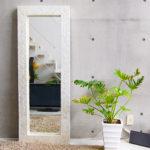 再入荷 シェルミラー(ホワイト) 160×60/鏡 ミラー 姿見 全身 壁掛け 全身鏡 全身姿見 …