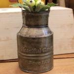 ハートフルガーデン ミルク缶型 持ち手付き ブリキ缶 ブリキプランター ブリキポット アンティーク…