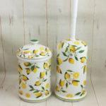 トイレブラシ トイレポット セット 陶器 ロイヤルアーデン レモン