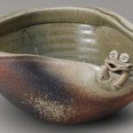 蛙付めだか鉢 信楽焼 睡蓮鉢 めだか鉢 水鉢 金魚鉢 メダカ鉢 水連鉢 すいれん鉢