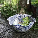 信楽焼 17号四季花絵すいれん鉢 睡蓮鉢 金魚鉢 水鉢 陶器 su-0146