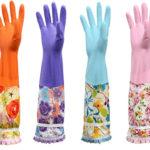 キッチングローブ 天然ゴム手袋 ロング 可愛い花柄 指先強化 マジックテープ付き 中厚手 ラテック…