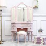 三面鏡ドレッサー ピンク ドレッサー 3面鏡 スツール付き ドレッサーセット おしゃれ 可愛い 姫…