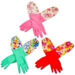 【TKY】 高品質 ゴム手袋 キッチングローブ 滑り落ちない ロングタイプ 裏起毛 厚手 3枚 セ…
