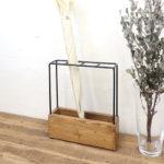 傘立て おしゃれ スリム【アイアン プリュイI&W カサタテB ブラウン/アイボリー】木製 アンテ…