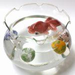 【フリル波口三足金魚鉢・小】ガラス  水盤 アクアリウム メダカ鉢