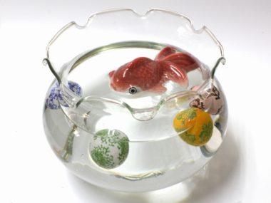 おしゃれでレトロなガラス金魚鉢6
