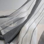 DEZENE(デゼンエ)ストライプ グレーとホワイト北欧 レースカーテン 透けない UVカット 幅…