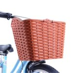 gannbarou 自転車用前カゴ リアバスケット 田園風 籐風編み込み 取付金具付 蓋つき ブラ…