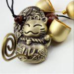 風鈴 ウィンドチャイム 招き猫 ラッキー チャイム 銅製 玄関 飾り物 アンティーク