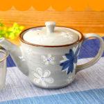 たっぷり青白花ポット 1個【洋食器/急須/ポット/新茶/お茶/ティー/緑茶/煎茶/ウーロン茶/花柄…