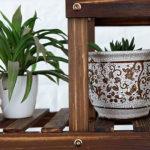 フラワースタンド フラワースタンドラダーラック木製植物フラワーディスプレイスタンド木製ポットシェル…