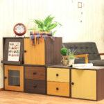 ウッドグラデーションボックス|カラーボックス 扉付き 収納ボックス キューブボックス テレビボード…