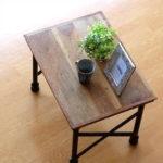 ローテーブル 無垢 アイアン 木製 天然木 テーブル コンパクト ソファーサイドテーブル ベッドサ…