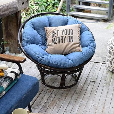 おしゃれなラタン調一人掛けソファ